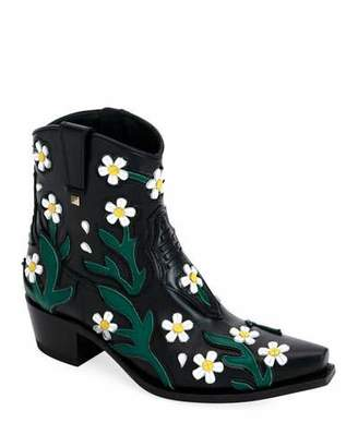 Valentino Ranch Daisy Applique Boots