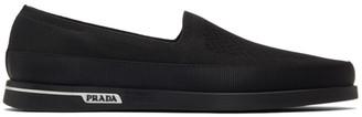 Prada Black Twill Knit Slip-On Sneakers