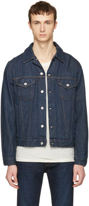 Acne Studios Blue Denim Beat Jacket $380 thestylecure.com