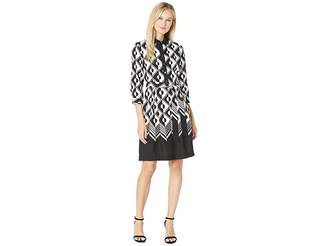 Anne Klein Printed Color Block CDC Shirtdress with Sash Women's Dress