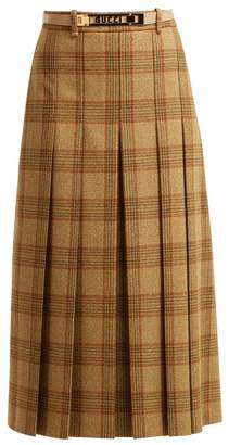 Gucci Checked Pleated Wool Midi Skirt - Womens - Brown Multi