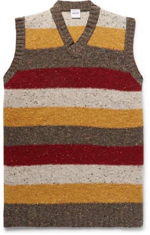 Aspesi Slim-Fit Striped Donegal Wool Sweater Vest