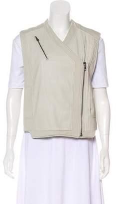 Helmut Lang Leather Knit-Paneled Vest