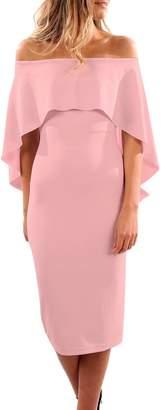 YINJIONG Women Solid Color Off Shoulder Ruffles Batwing Cape Midi Party Dress