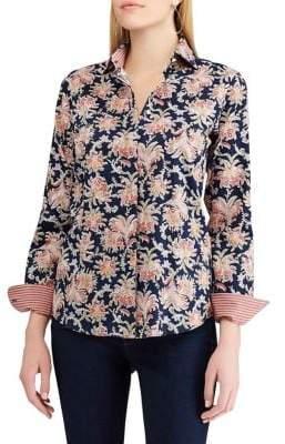 Chaps Petite Straight-Fit Paisley-Print Shirt