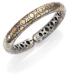 John Hardy Naga 18K Yellow Gold & Sterling Silver Slim Flex Cuff Bracelet