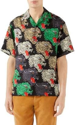 Gucci Allover Panther Print Silk Camp Shirt