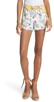 Joie Deodata Lace-Up Silk Shorts