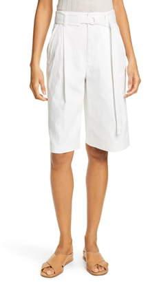 Vince Belted Stretch Cotton & Linen Blend Shorts