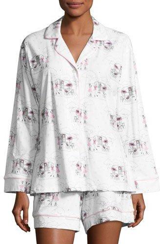 BedHeadBedhead Exclusive Glamping Long-Sleeve Shortie Pajama Set, White Pattern