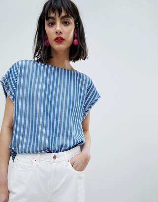 Esprit Stripe Short Cap Sleeve Top