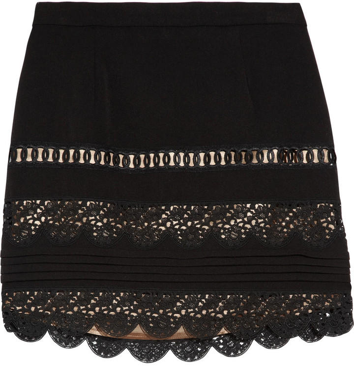 Sandro Jet lace-trimmed mini skirt