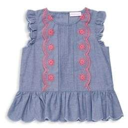Design History Little Girl's Embroidered Chambray Cap-Sleeve Top