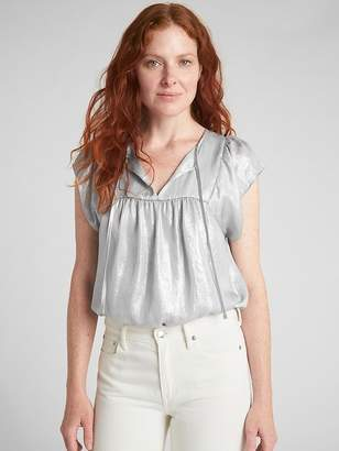 Gap Flutter Metallic Tie-Neck Blouse