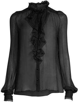 Alexis Ximena Sheer Lace-Front Blouse