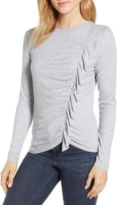 1 STATE 1.STATE Ruffle Front Rib Knit Long Sleeve Top