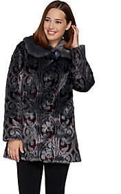 Dennis Basso Platinum Collection JacquardFaux Fur Coat