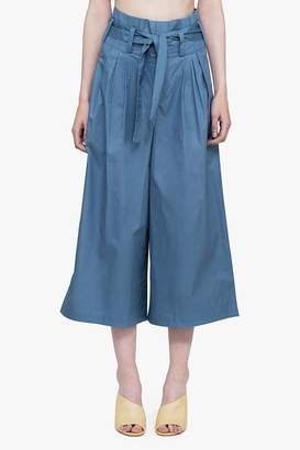 Genuine People Cotton Pleat Wide Leg Belted Pants