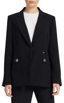Donna Karan Long Grommet Button Blazer