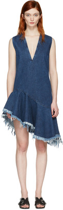 Marques Almeida Blue Denim V-Neck Dress $595 thestylecure.com