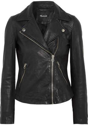 Madewell Washed-leather Biker Jacket - Black