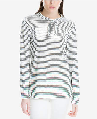 Max Studio London Striped Tie-Neck T-Shirt, Created for Macy's