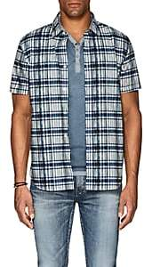 John Varvatos Men's Plaid Cotton Poplin Shirt-Navy