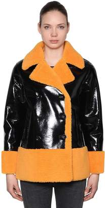 Stand Faux Shearling & Vinyl Jacket