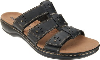 Clarks Leather Triple Strap Slides - Leisa Spring