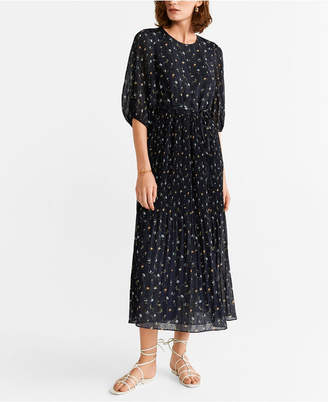 MANGO Pleated Chiffon Dress