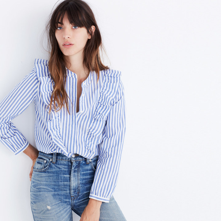 Striped Ruffle-Front Blouse