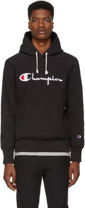 Champion Reverse Weave Black Script Logo Hoodie
