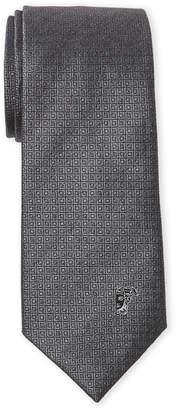 Versace Dark Grey Diamond-Like Pattern Silk Tie