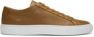Common Projects Tan and White Achilles Low Perforated Sneakers
