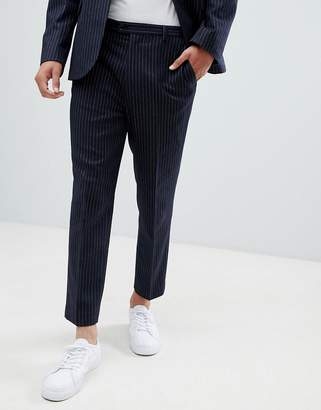 Asos DESIGN tapered suit pants in navy wool blend pinstripe