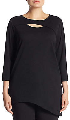 Joan Vass Women's Cutout Asymmetric Cotton Tunic