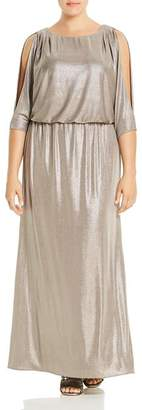 Adrianna Papell Plus Metallic Back-Cutout Gown