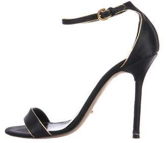 Sergio Rossi Satin Ankle-Wrap Sandals