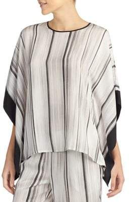 Halston H Striped Asymmetric Pajama Top