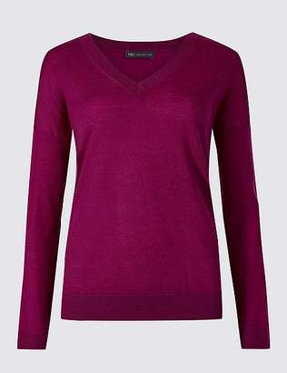 Marks and Spencer Pure Merino Wool V-Neck Long Sleeve Jumper