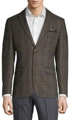 Tallia Orange Slim-Fit Wool Plaid Sportcoat