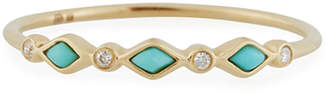Sydney Evan Turquoise Bezel & Diamond Stacking Ring