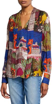 Chufy Camel Tie-Neck Scarf Print Shirt