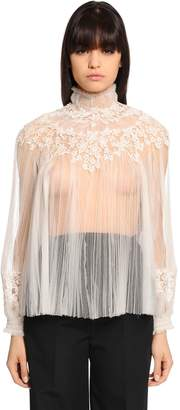 Valentino Sheer Tulle & Lace Blouse