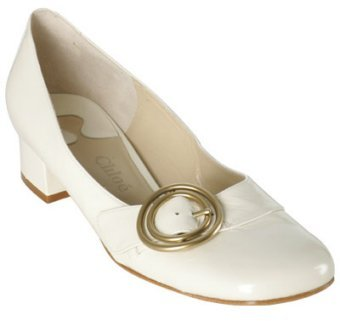 Chloe ivory patent leather low heel pumps