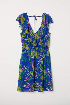 H&M V-neck Dress - Bright blue/floral - Women