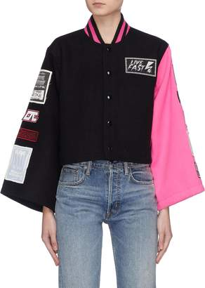 Opening Ceremony Mix logo patch colourblock cropped varsity jacket
