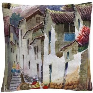 Trademark Fine Art Cuzco I' Tuscan Architectural Village By Masters Fine Art 16 X 16 Decorative Throw Pillow