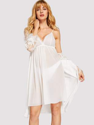 Shein Lace Trim Sheer Cami Dress With Robe