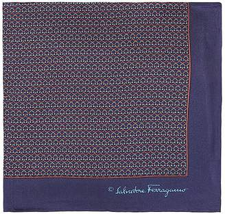 Salvatore Ferragamo Men's Interlocking-Ring-Print Silk Pocket Square